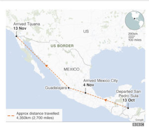 Map courtesy of BBC. Caravan route with dateline.